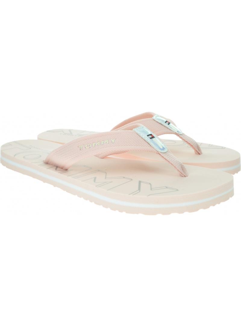 Różowe Japonki TOMMY HILFIGER Iridescent Detail Beach Sandal FW0FW04236 658