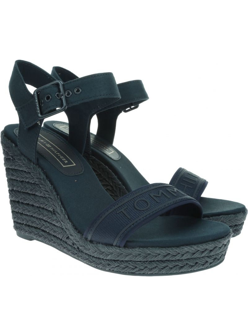 Granatowe Espadryle TOMMY HILFIGER Colorful Tommy Wedge Sandal FW0FW04160