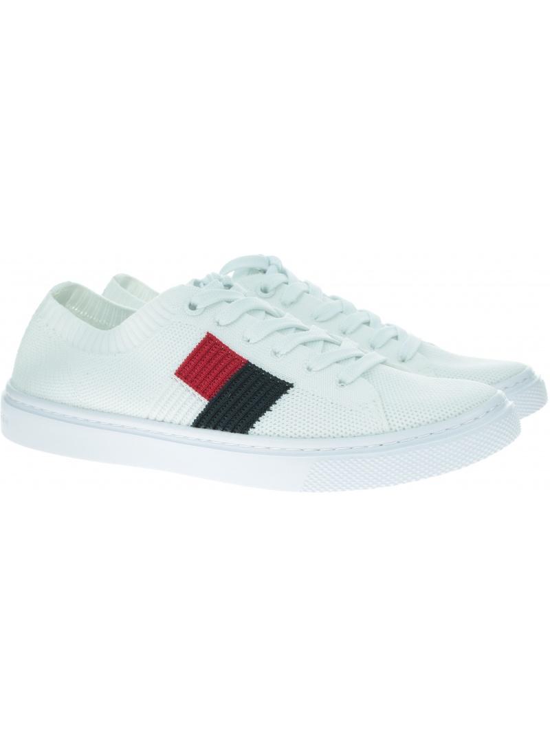 Białe Tenisówki TOMMY HILFIGER Knitted Flag Lightweight Sneaker FW0FW04150