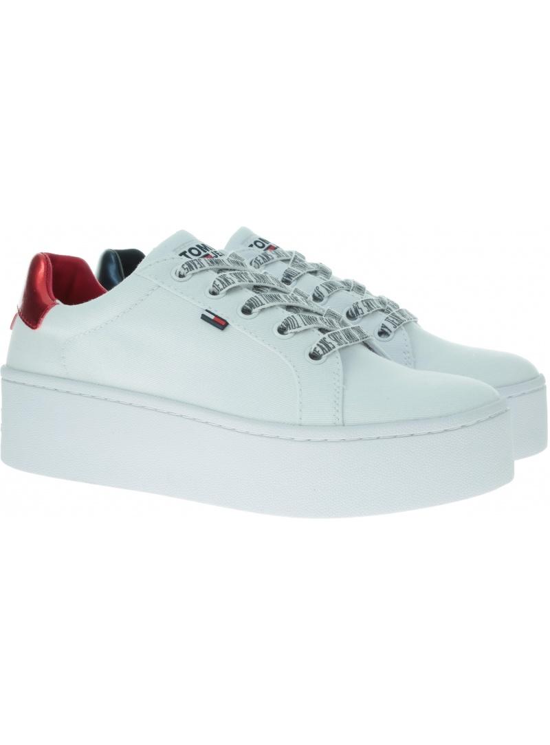 Białe Sneakersy TOMMY HILFIGER Icon Textile Flatform Sneaker EN0EN00535 100