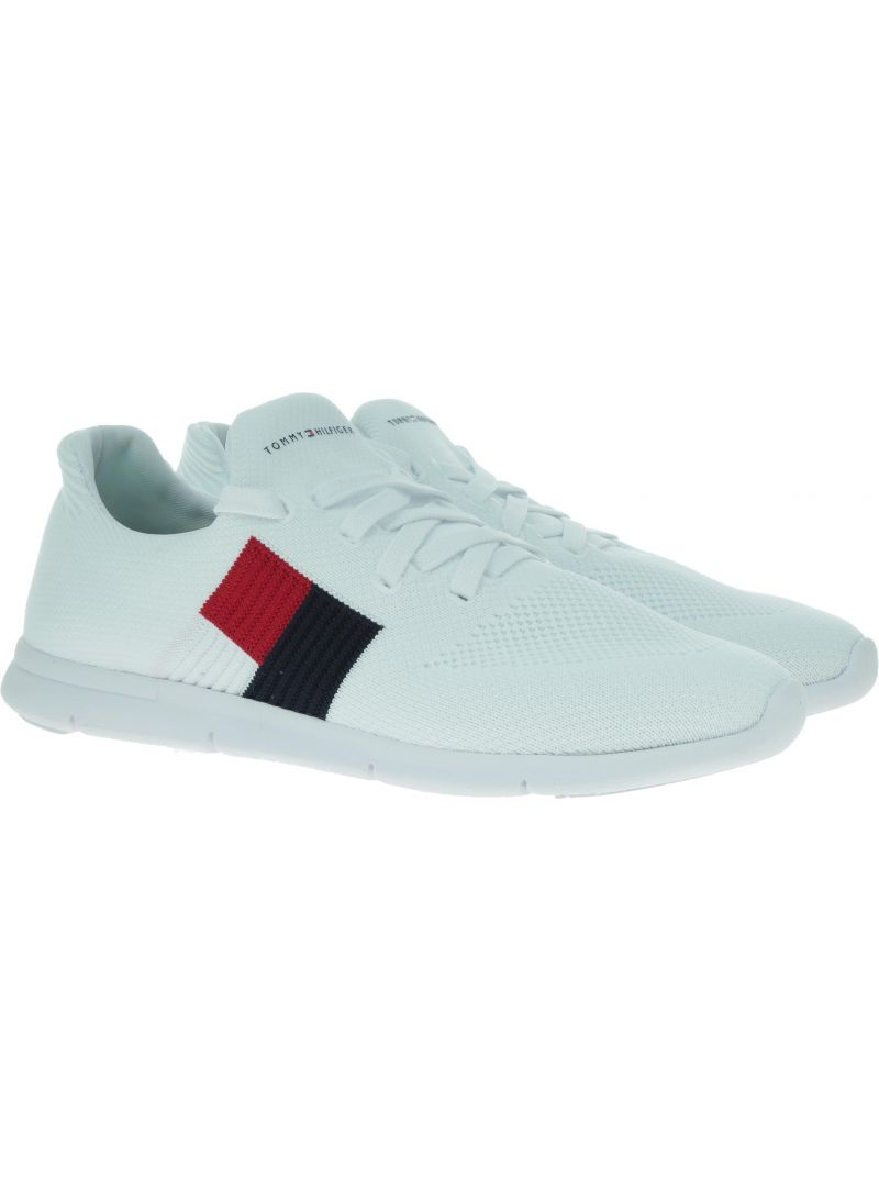 Białe Sneakersy TOMMY HILFIGER Knitted Flag Light Sneaker FW0FW04144 100