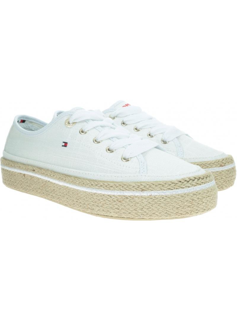 Białe Sneakersy TOMMY HILFIGER Jute Detail Flatform FW0FW04262 100