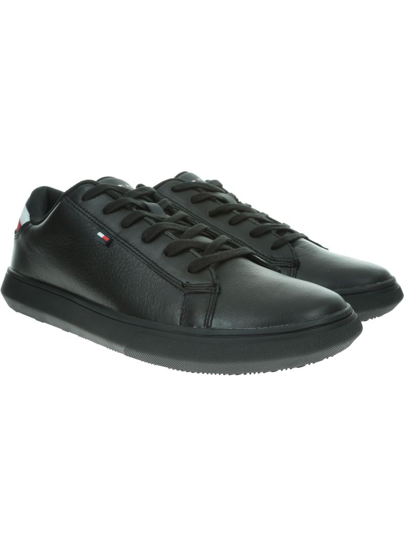 Czarne Sneakersy TOMMY HILFIGER Essential Leather De FM0FM02272 990