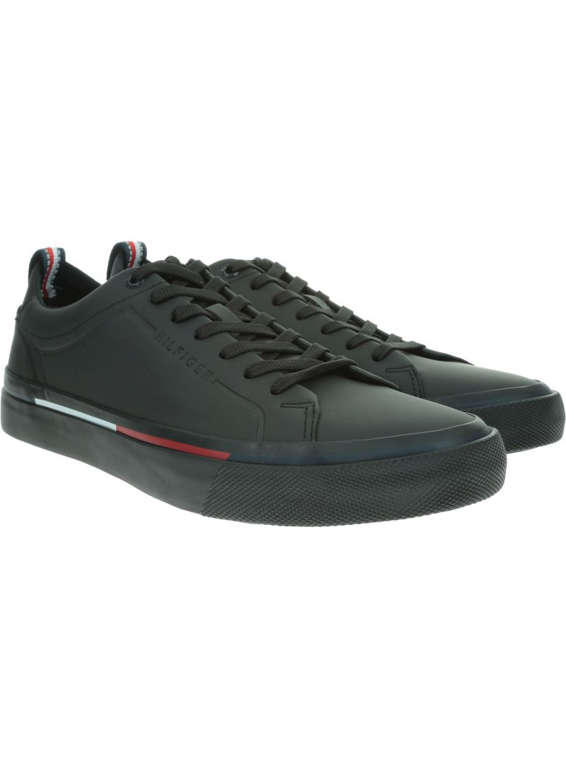 Czarne Sneakersy TOMMY HILFIGER Corporate Leather Sn FM0FM02285 990