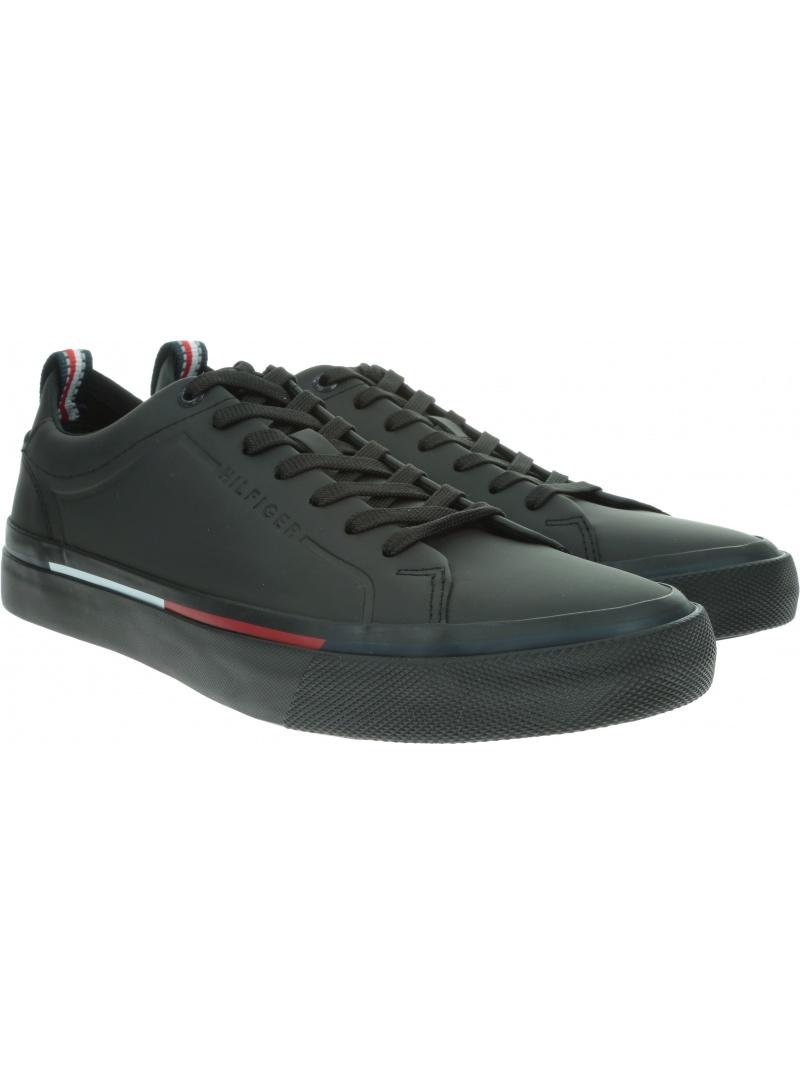 Czarne Sneakersy TOMMY HILFIGER Corporate Leather Sn FM0FM02285 990