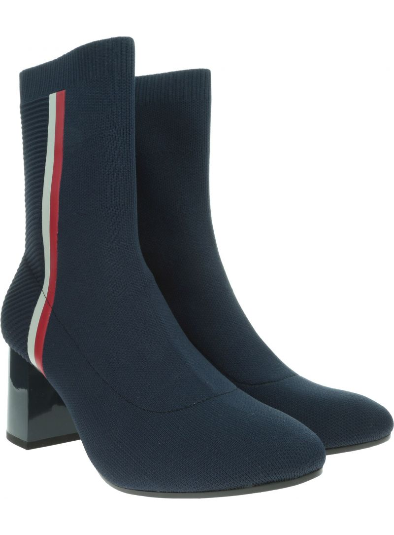 Granatowe Botki TOMMY HILFIGER Knitted Heeled Boot FW0FW04157 403
