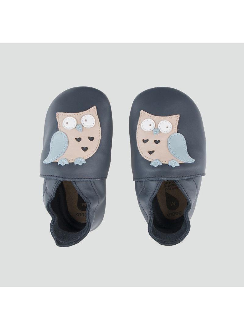 Granatowe Skórzane Kapcie z Sową BOBUX Soft Sole 1000-011-01 NAVY OWL