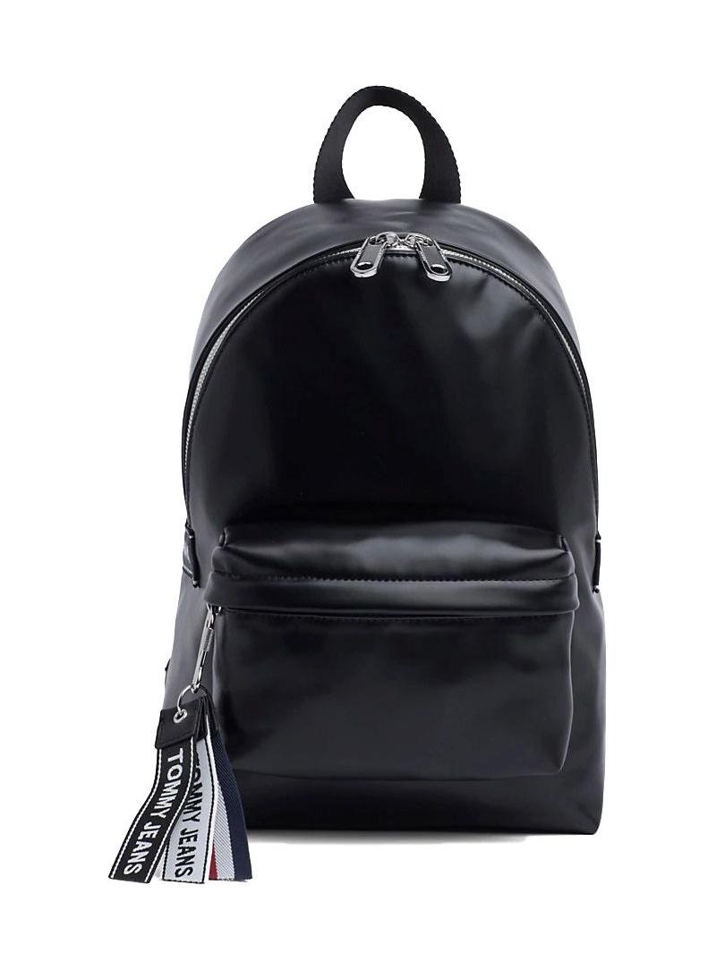 Czarny Plecak TOMMY HILFIGER Tjw Logo Tape Pu M Backpack AW0AW07068 002