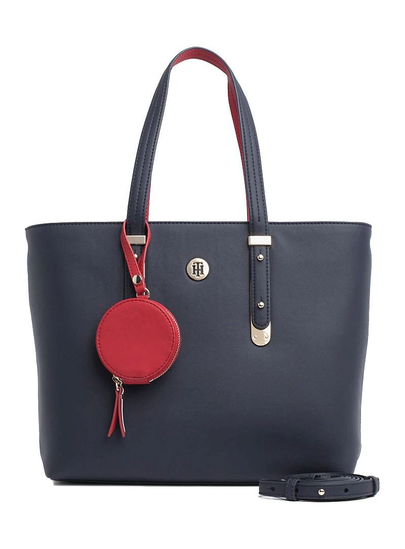 Granatowa Torebka TOMMY HILFIGER Modern Hardware Med. Tote AW0AW06918 413