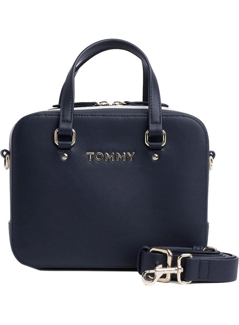 Granatowa Torebka TOMMY HILFIGER Th Corporate Mini Trunk AW0AW06820 413