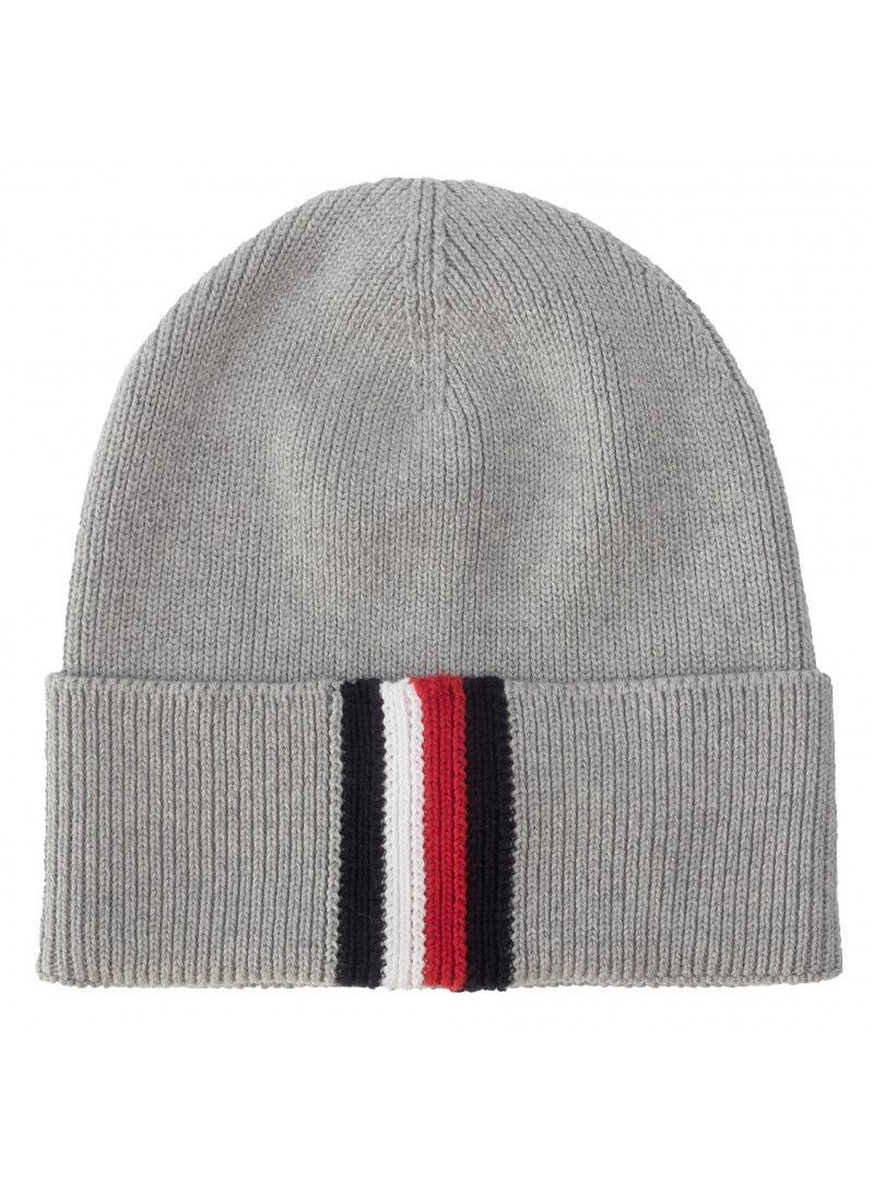 Szara Zimowa Czapka TOMMY HILFIGER Corporate Pima Cotton Beanie AM0AM04848