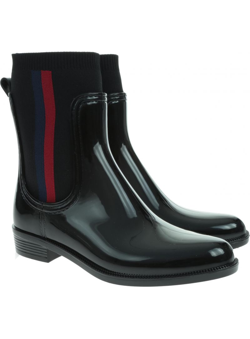 Czarne Kalosze Tommy Hilfiger Knitted Rain Boot FW0FW04125 990