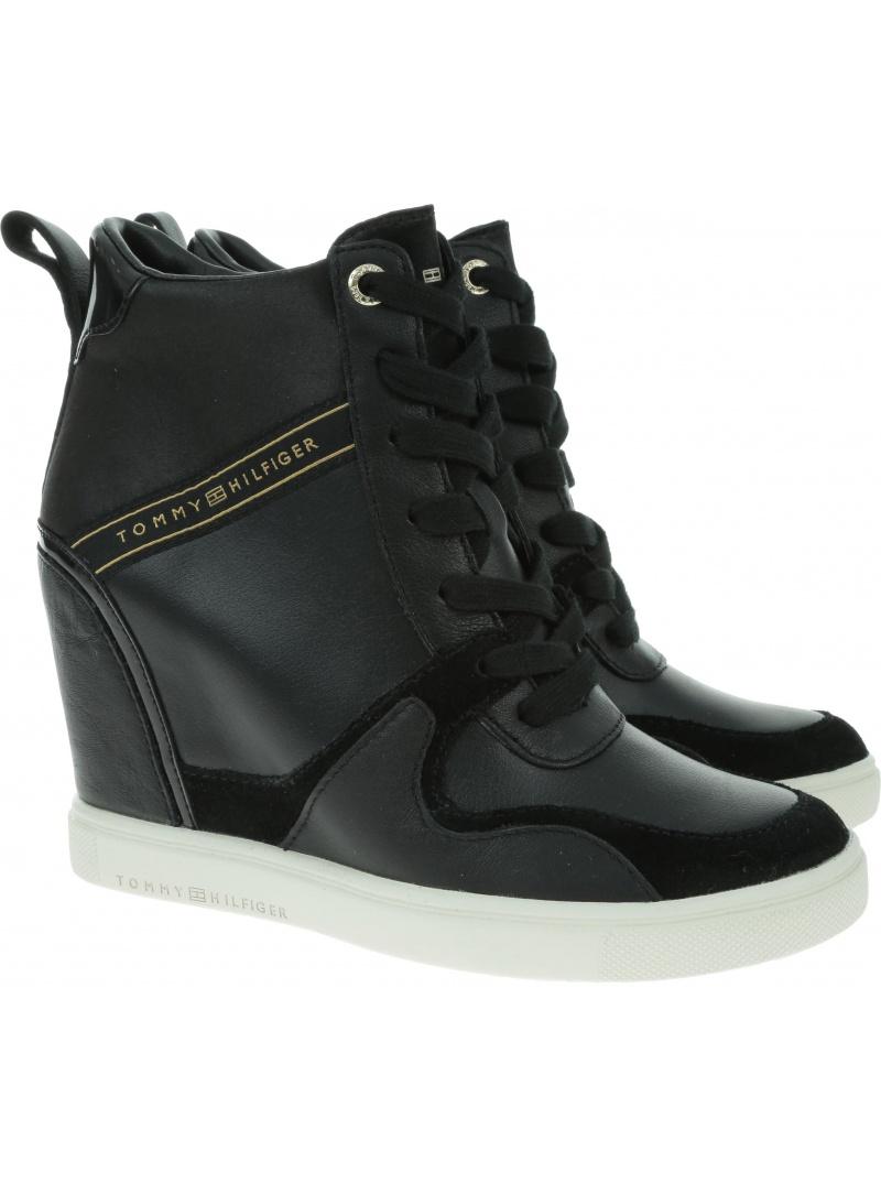 Czarne Sneakersy na Koturnie Tommy Hilfiger Dressy Sneaker Wedge