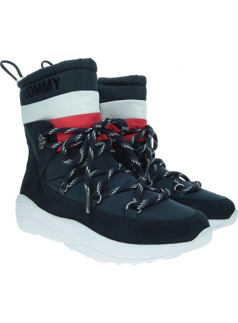 Granatowe Śniegowce Kozaki TOMMY JEANS Corporate Padded Nylon Boot