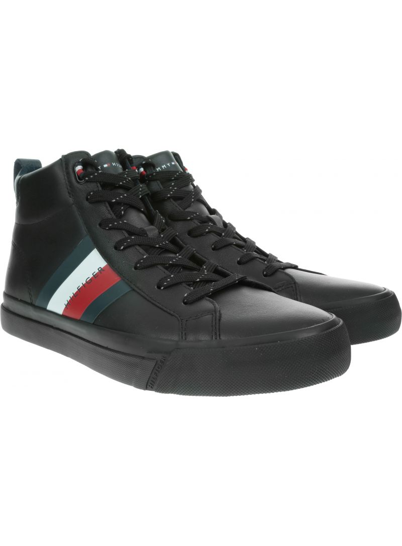 Czarne Trampki TOMMY HILFIGER Flag Detail Leather Sneaker High FM0FM02371