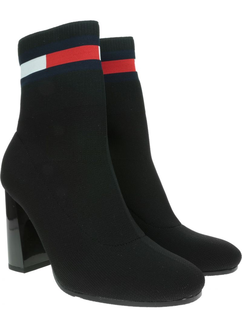 Czarne Botki TOMMY HILFIGER Sock Heeled Boot EN0EN00703 BDS