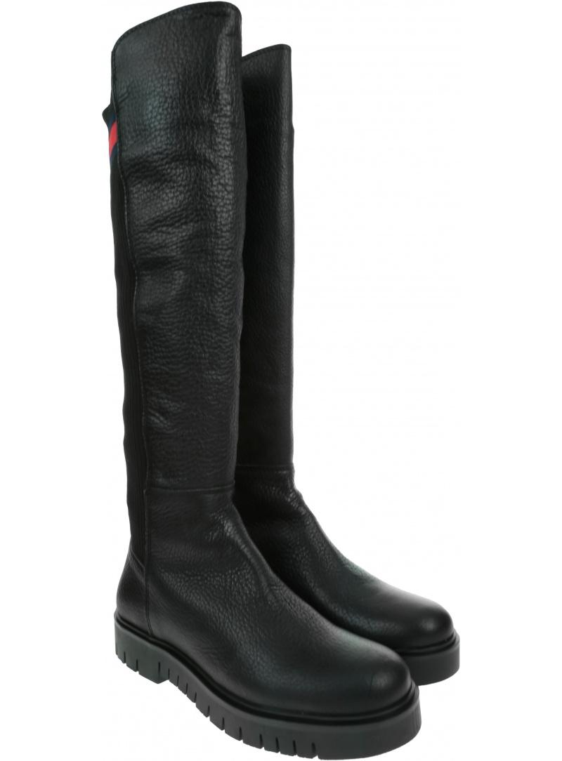Czarne Kozaki TOMMY HILFIGER Flag Sock Tommy Jeans Boot EN0EN00661 990