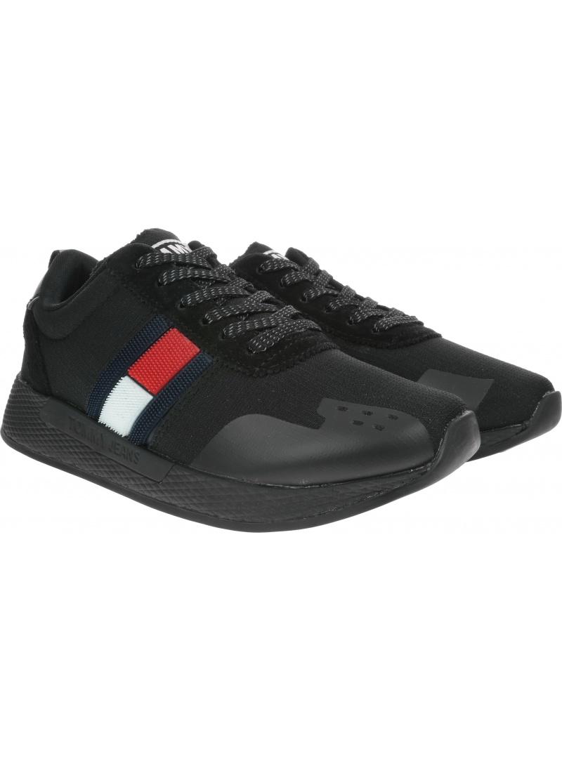 Czarne Sneakersy TOMMY HILFIGER Technical Pin Logo Sneaker EN0EN00652 990