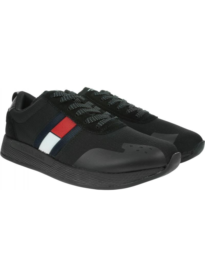 Czarne Sneakersy TOMMY HILFIGER Flag Flexi Tommy Jeans Sneaker EM0EM00331
