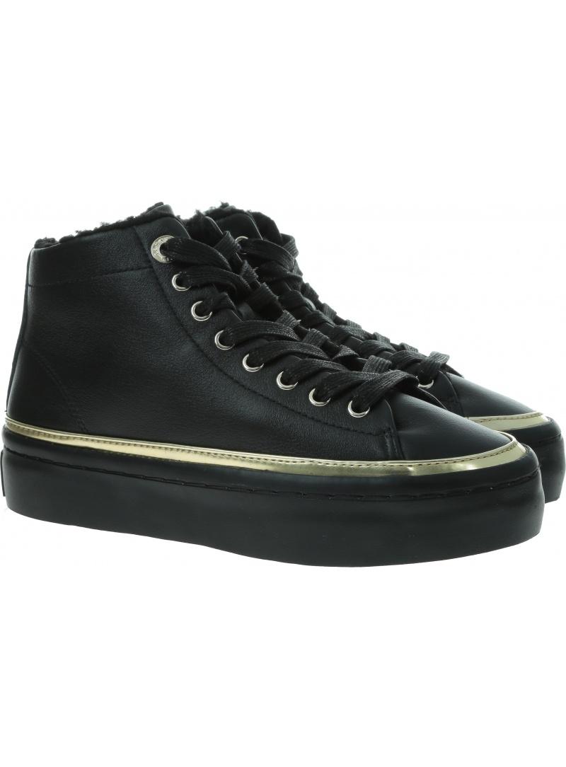 Czarne Sneakersy TOMMY HILFIGER Midcut Cosy Leather Sneaker FW0FW04536 BDS