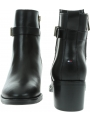 Czarne Botki TOMMY HILFIGER Th Hardware Leather Mid Bootie FW0FW04286 990