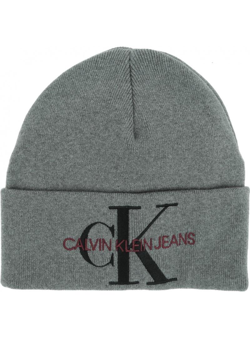 Szara Zimowa Czapka CALVIN KLEIN JEANS J Basic Knitted Beanie K60K605818