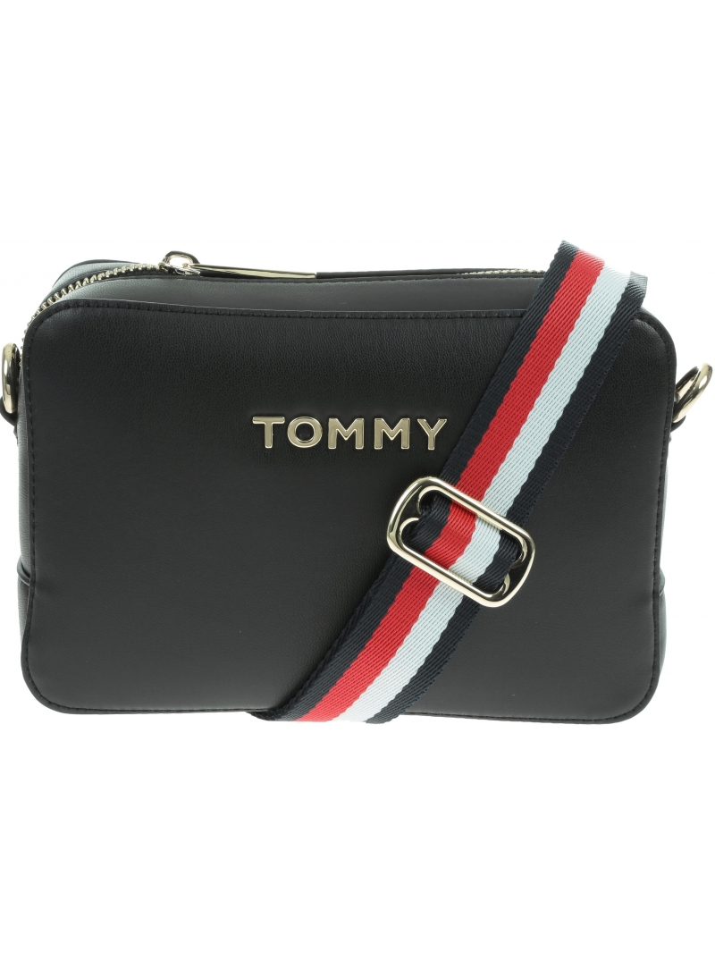 Czarna Torebka TOMMY HILFIGER Iconic Tommy Crossover Solid AW0AW07591 BDS