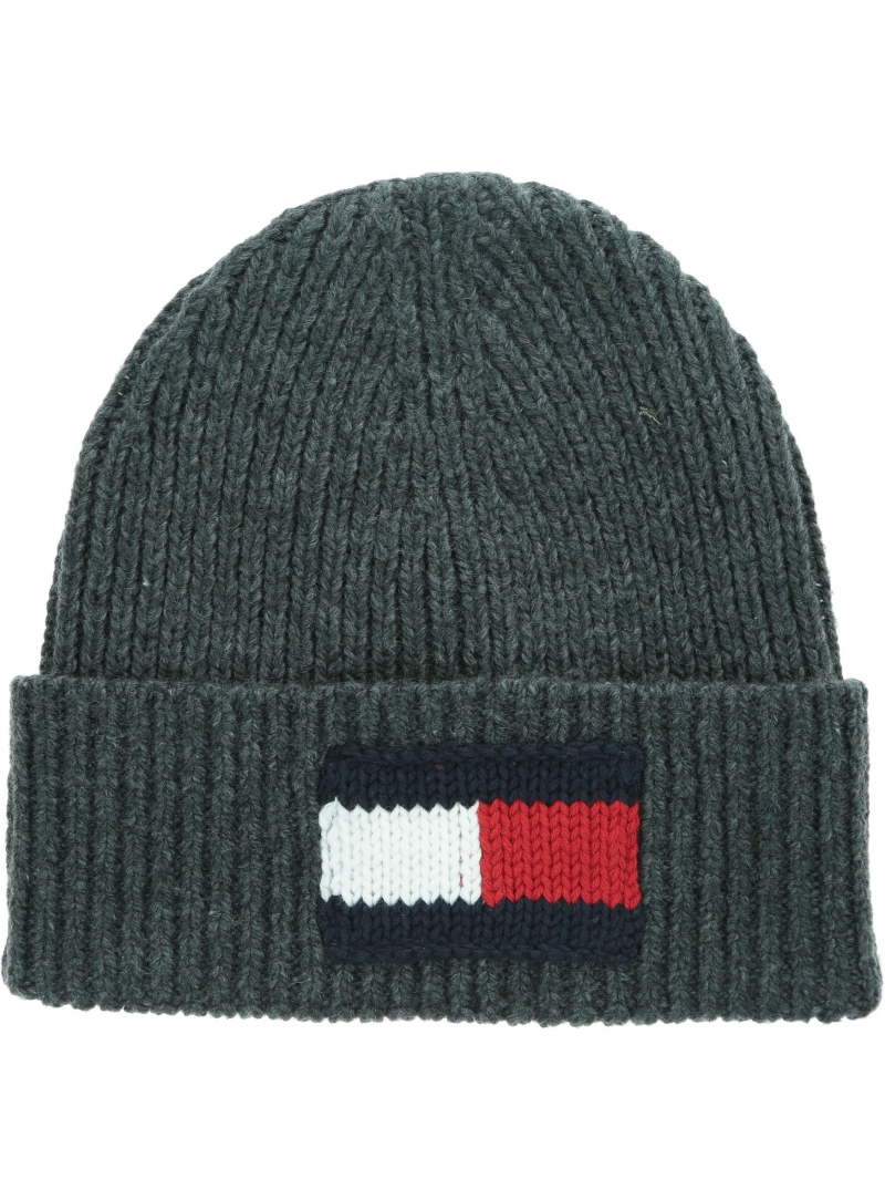 Szara Czapka TOMMY HILFIGER Big Flag Beanie AM0AM05152 0IT