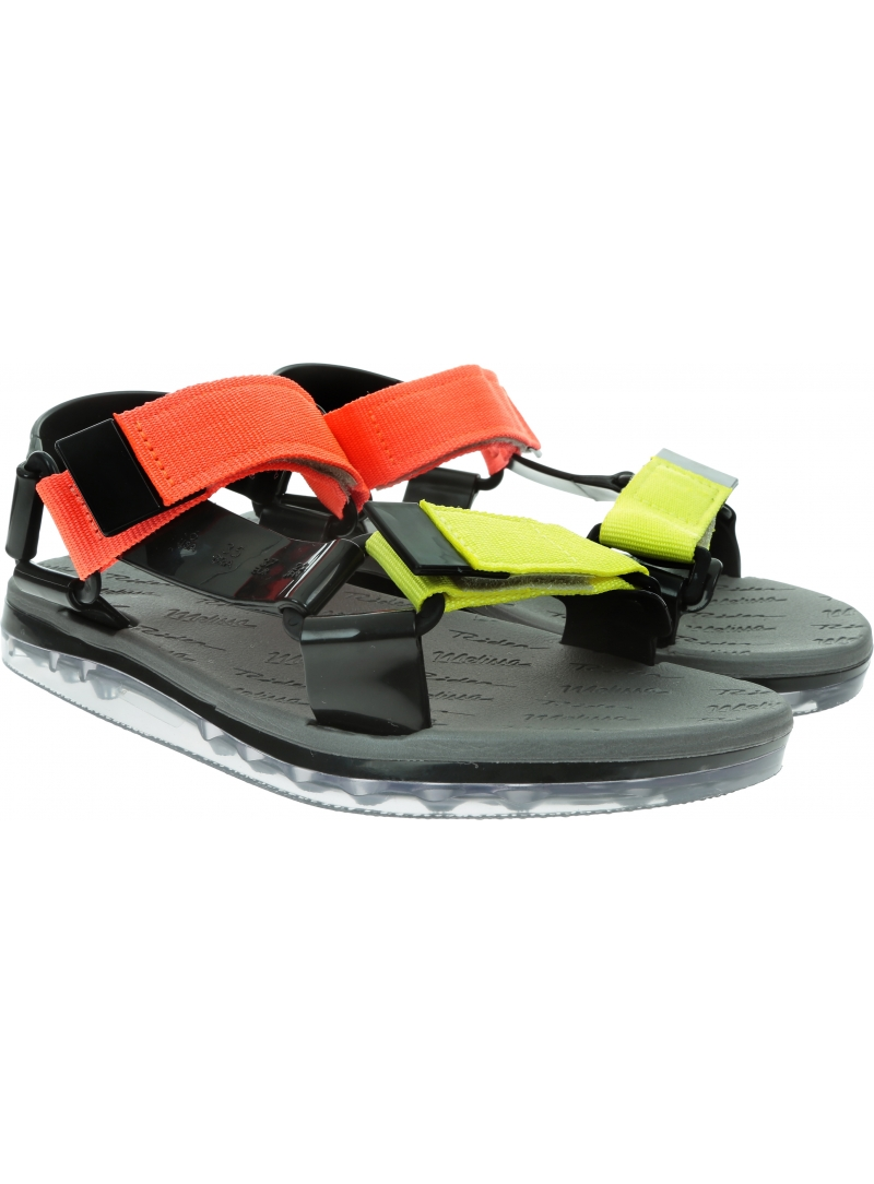 Kolorowe Sandały MELISSA Papete + Rider Ad 32537 Black/Yellow/Orange 53644