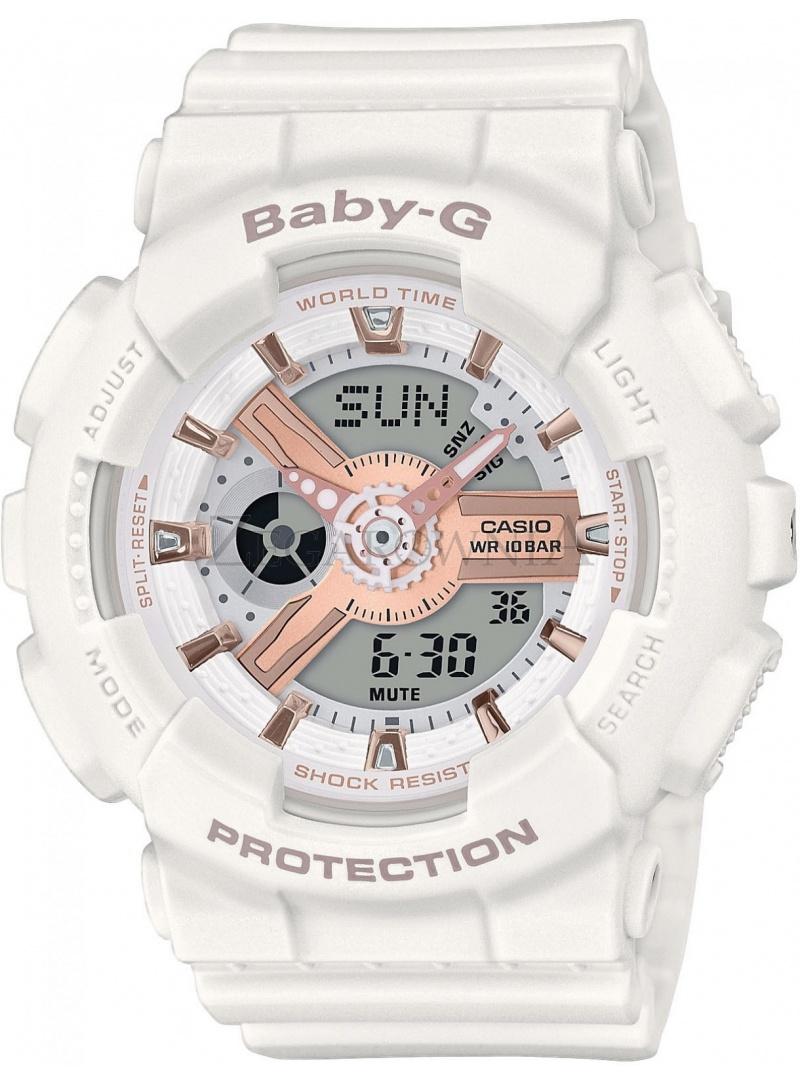 Biały Zegarek Damski CASIO Classic BABY-G BA-110RG-7AER
