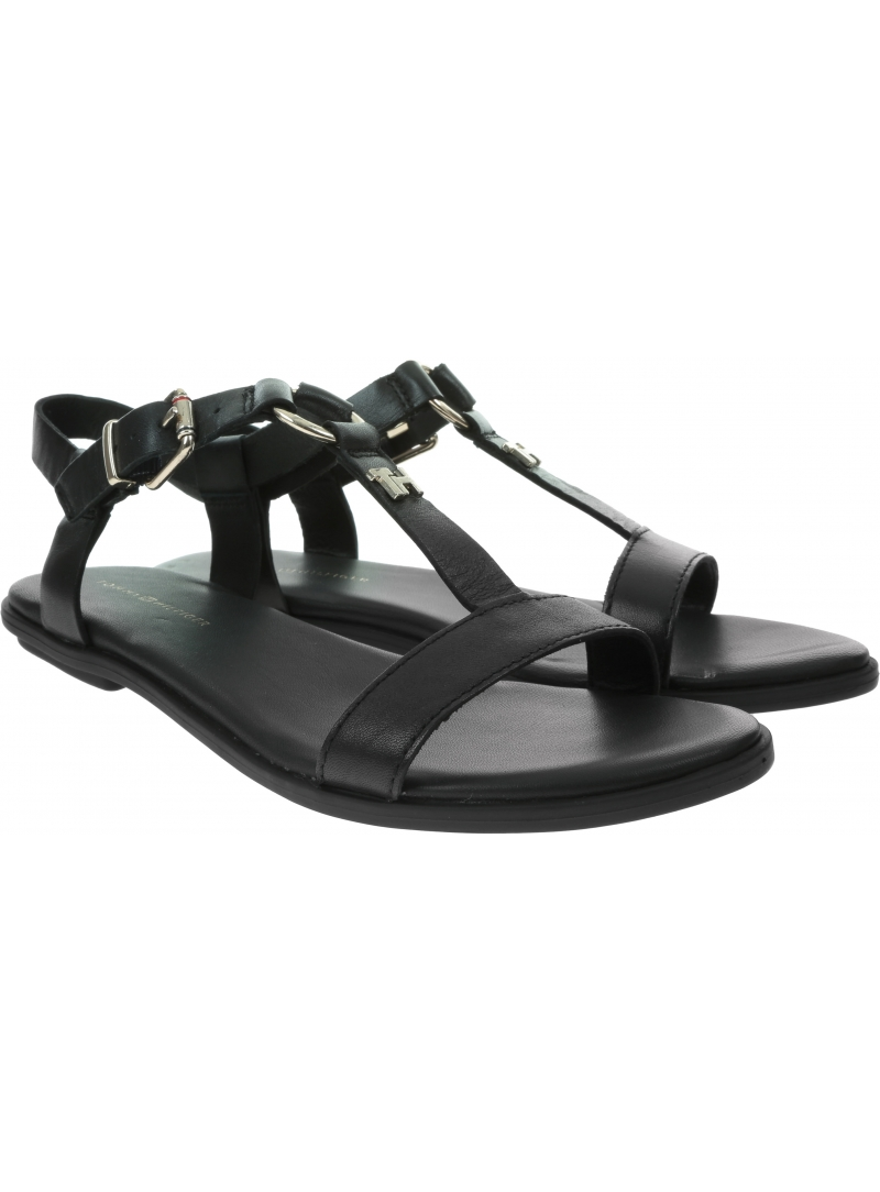 Sandały Damskie TOMMY HILFIGER Feminine Leather Flat Sandal FW0FW04882 BDS
