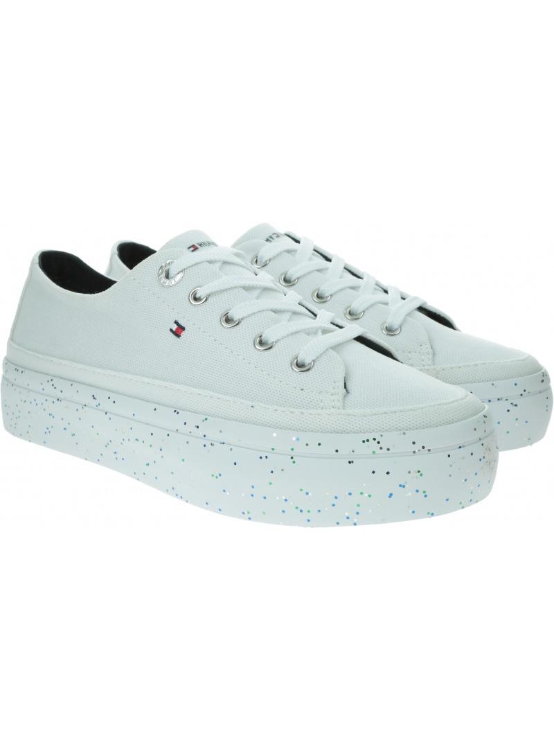 Sneakersy Damskie TOMMY HILFIGER Glitter Flatform Sneaker FW0FW04693 YBS