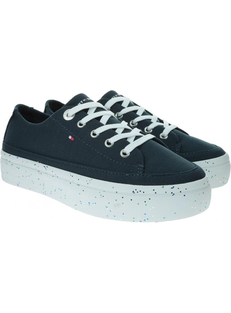 Sneakersy Damskie TOMMY HILFIGER Glitter Flatform Sneaker FW0FW04693 DW5