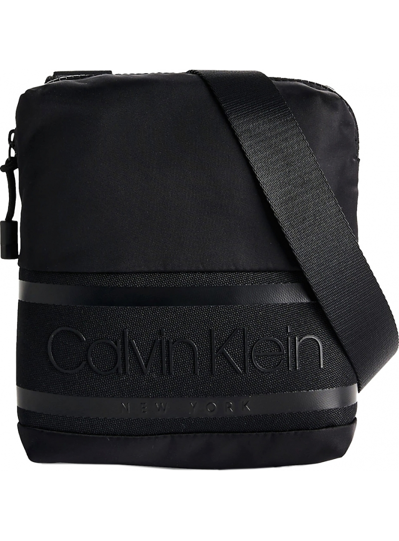 Czarna Listonoszka Saszetka CALVIN KLEIN Striped Logo Mini Re Black