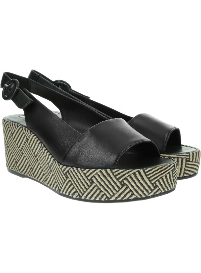 Czarne Sandały Koturny HOGL 9-10-3200 0100