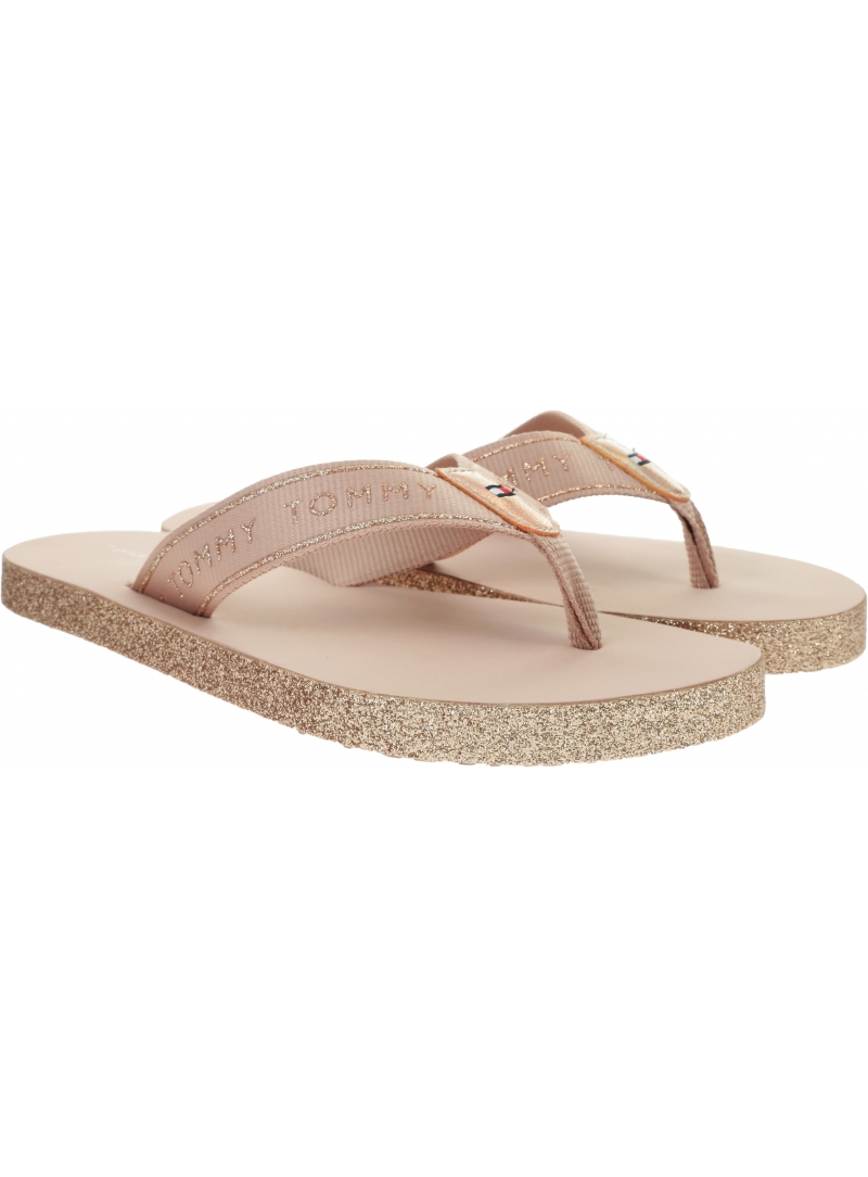 Japonki Damskie TOMMY HILFIGER Tommy Glitter Flat Beach Sandal FW0FW04804