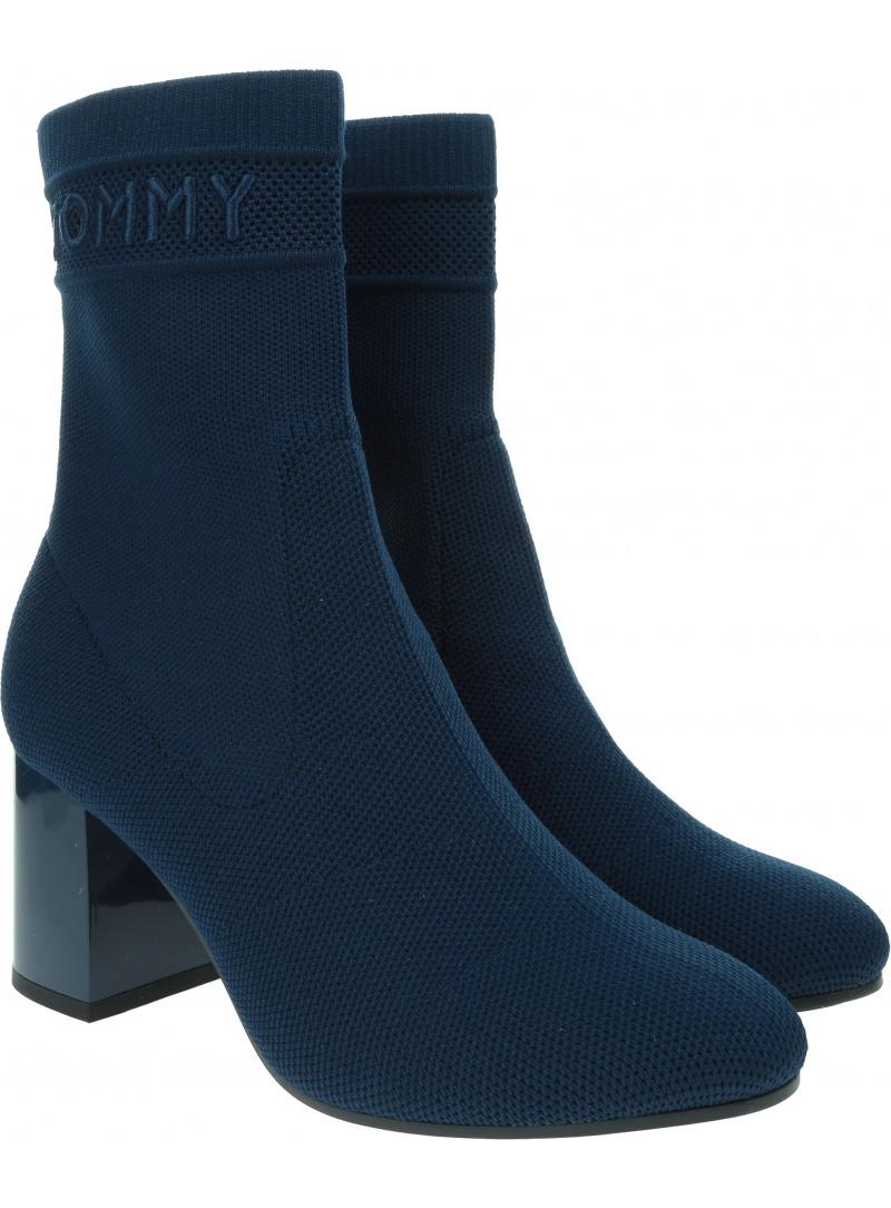 Botki Damskie TOMMY HILFIGER Tommy Knit Mid Heel Boot FW0FW04974 DB9