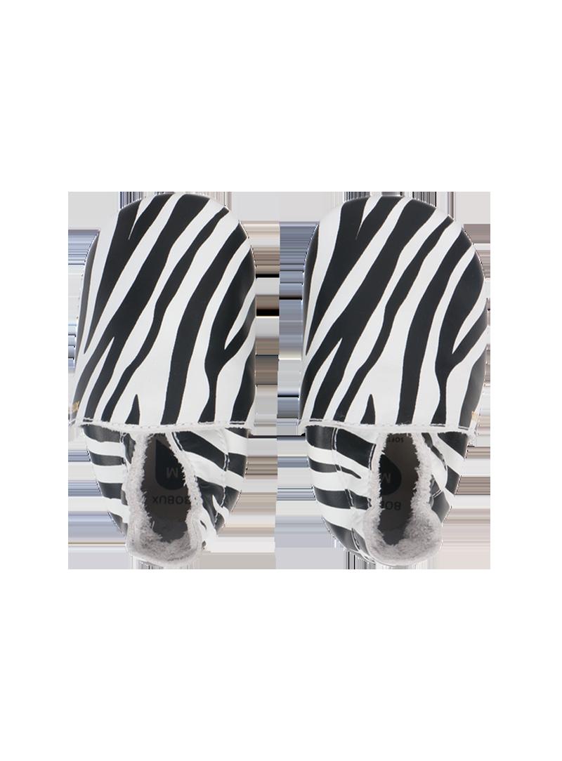 Skórzane Kapcie BOBUX 1000-075-02 Zebra Print White Soft Sole