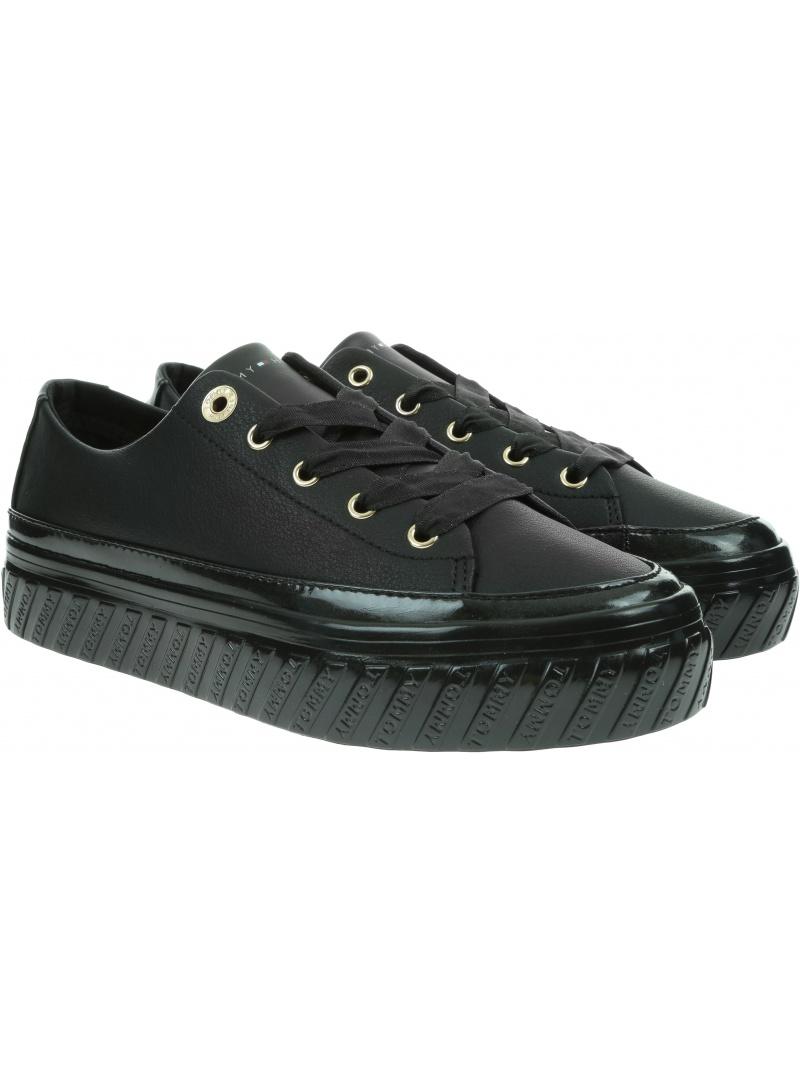 Skórzane Trampki TOMMY HILFIGER Shiny Flatform Vulc Sneaker FW0FW05221 BDS