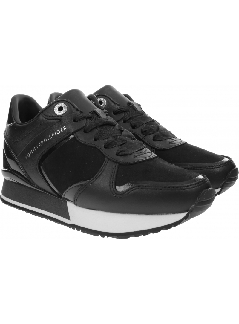 Czarne Sneakersy Na Koturnie TOMMY HILFIGER Dressy Wedge Mat Mix Sneaker