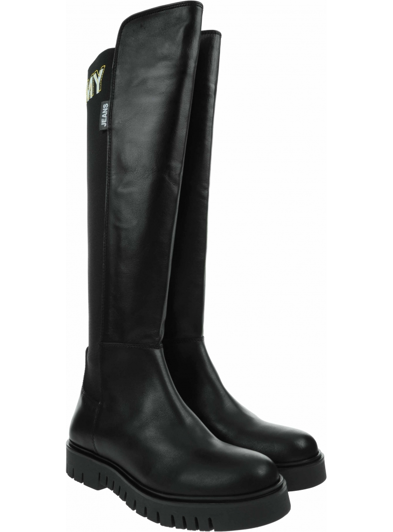Muszkieterki TOMMY JEANS Double Detail Long Boot EN0EN01084 Black BDS