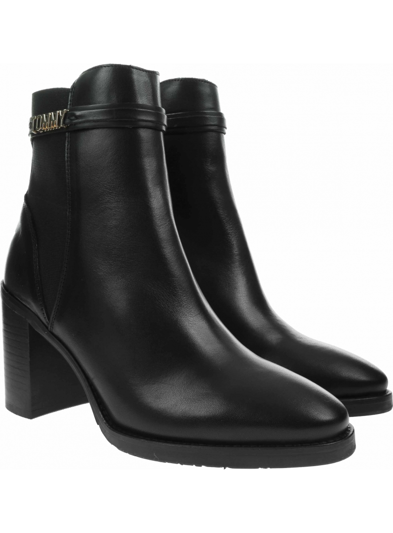 Botki TOMMY HILFIGER Block Branding High Hell Boot FW0FW05153 Black